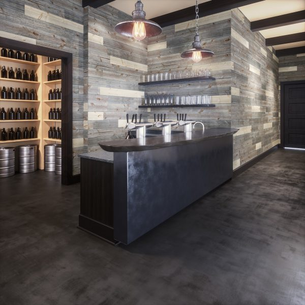 Brewery with rustic wood plank walls [Easy Barnwood Collection from Great American Spaces]