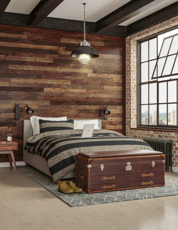 Pallet accent wall in modern rustic bedroom [BrewPub Collection from Great American Spaces]