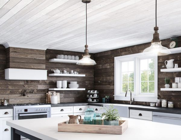 Modern farmhouse kitchen with shiplap walls [ShipLap Collection from Great American Spaces]