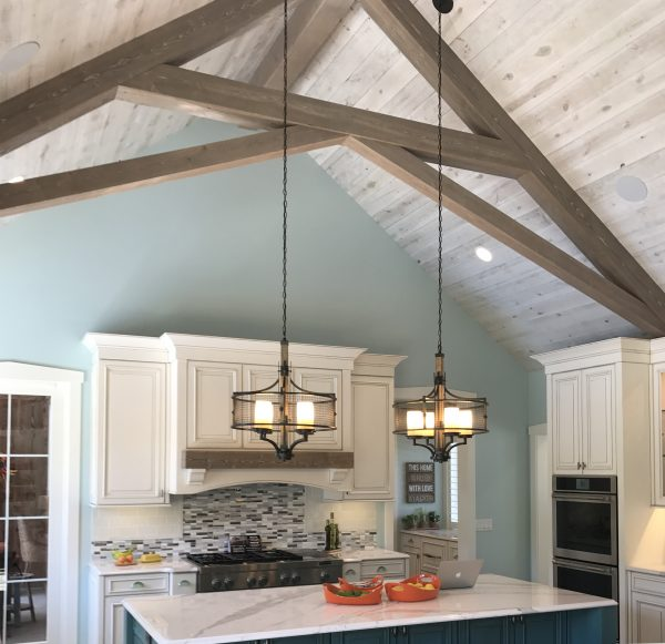 Modern kitchen with vaulted barnwood ceiling [Easy Barnwood Collection from Great American Spaces]