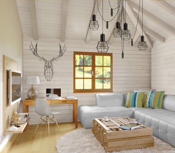 White pine walls and ceiling in modern living room Modern log cabin look with pine staircase [ClassicPine Collection from Great American Spaces]