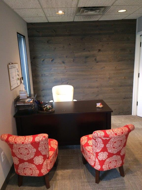 Office Wood Accent Wall using Easy BarnWood in Old Barn Gray, Square-Edge