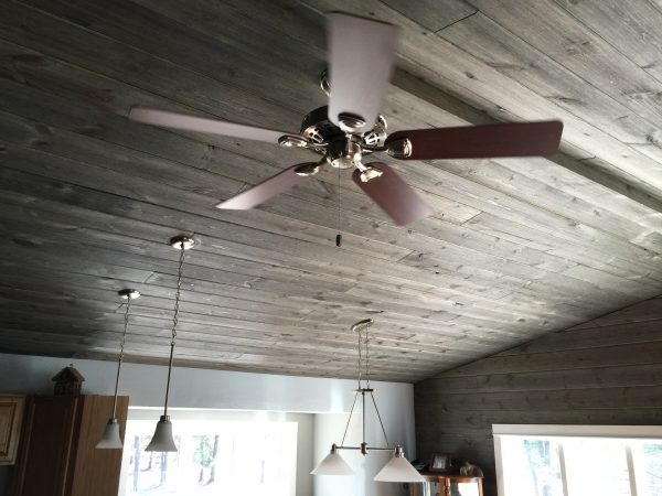 Wood Ceiling Planks using Easy BarnWood in Old Barn Gray, V-Groove