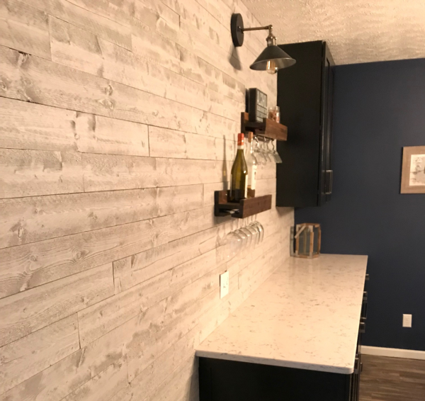 Bar accent wall using wood