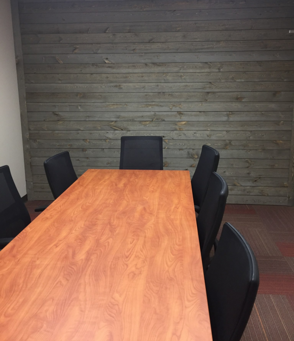 Conference Room Wall using Great American Spaces ShipLap in Sand Dune