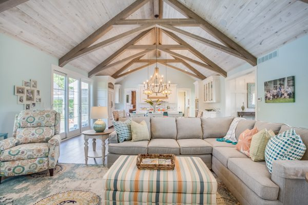 Living room ceiling using Great American Spaces Easy BarnWood in Traditional White