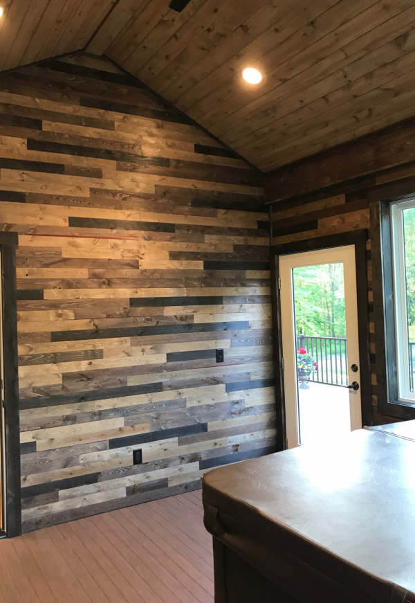 Enclosed Porch using Great American Spaces BrewPub Whiskey Barrel on Walls and Easy BarnWood Covered Bridge on the Ceiling