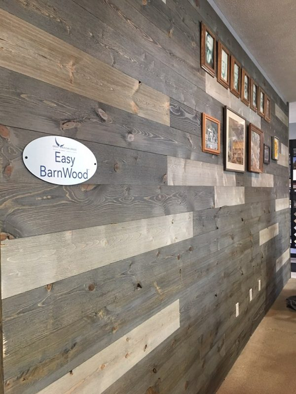 Wieber Lumber Company Display Wall Easy BarnWood using Sterling Gray and Old Barn Gray