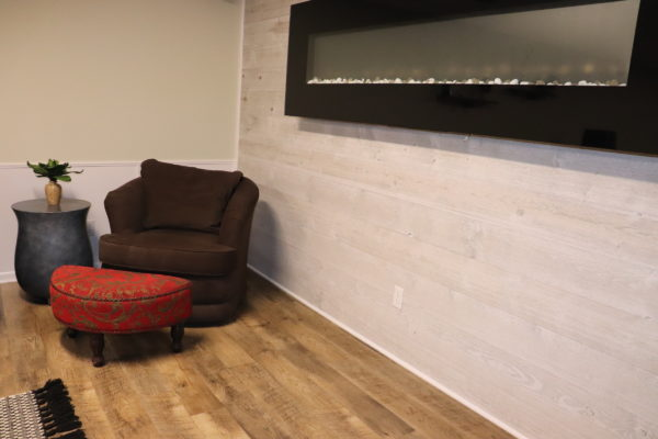 Fireplace Accent Wall using Great American Spaces Easy BarnWood in Traditional White